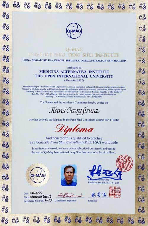 mein feng-shui-diplom - von Jes Lim